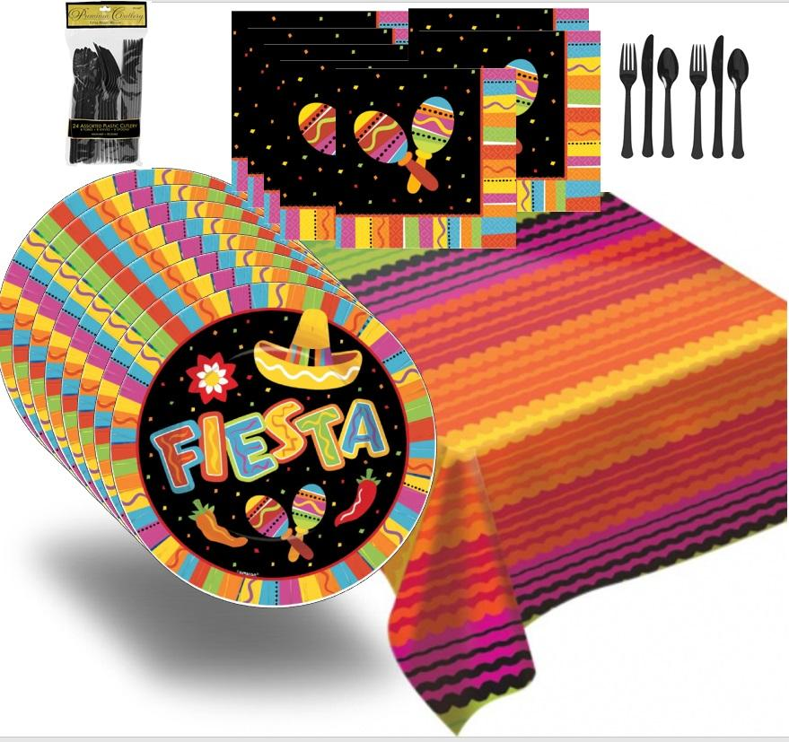 Premium Fiesta Themed Party Pack (Cinco de Mayo, Quinceanera) for 16 - Shipped Fedex Express