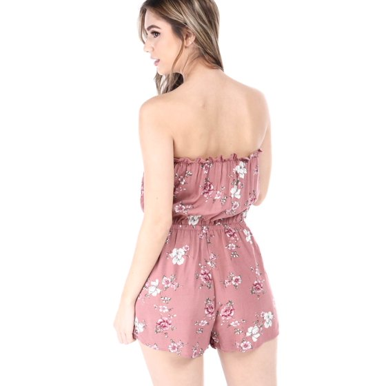 9744e69759b Heart   Hips - Salt Tree Women s Floral Print Strapless Linen Romper ...