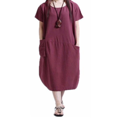 Summer Women Loose Crewneck Short Sleeve Pockets Tunic Shirt Dress Kaftan