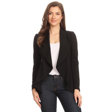 NEW MOA Women's Women's Solid & Floral Stretch Long Sleeves Open Front Blazer Jacket/Made in USA