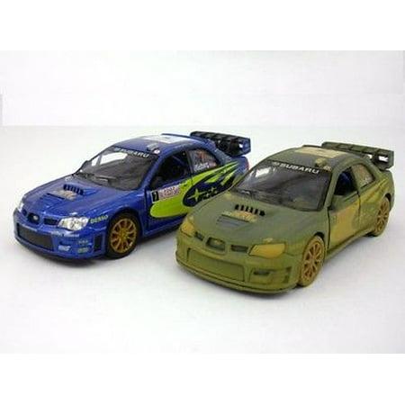 "2 PC SET: 5"" Kinsmart 2007 Subaru Impreza WRC Diecast 1:36 model Rallye Monte Carlo Rally"