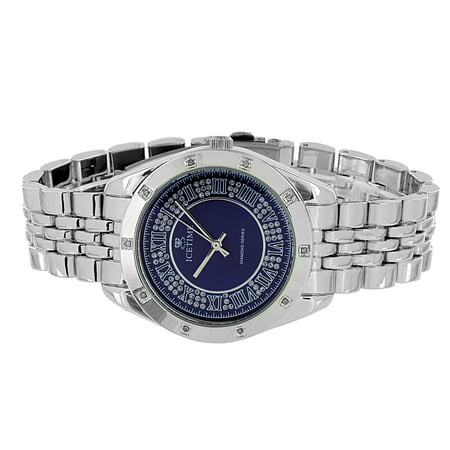 Classy Ice Time Watch Stainless Steel Back 0 10Ct Real Diamond Analog Display On Sale