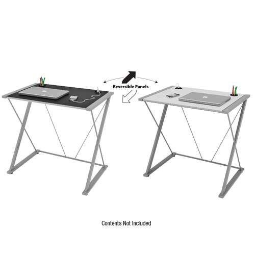 Z-line Tobin Computer Desk - Reversible Panels, USB Hub, Pencil Holder, Silver/Black and White  - TD332-01DU