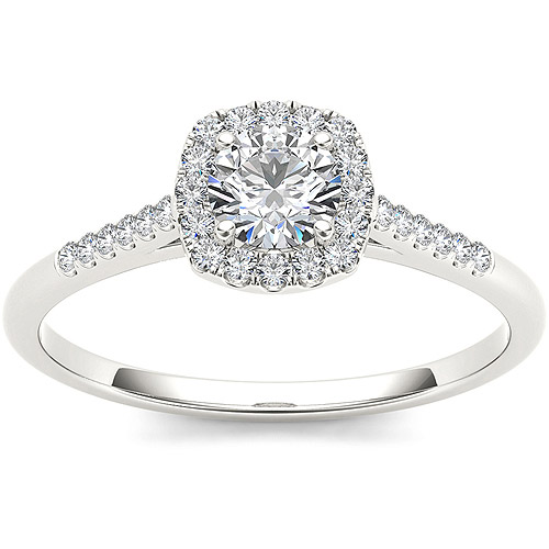 Imperial 1/2 Carat T.W. Diamond Single Halo 10kt White Gold Engagement Ring