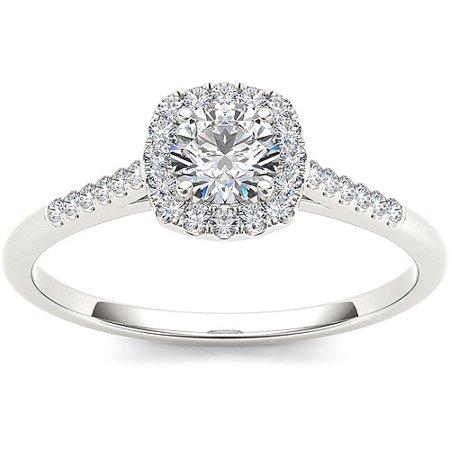 1/2 Carat T.W. Diamond Single Halo 10kt White Gold Engagement Ring ()