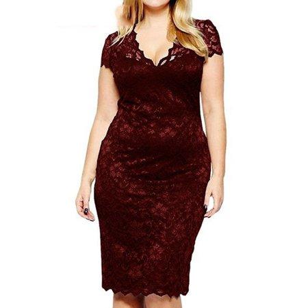 Women\'s Lace Sheath Dresses Knee Length V Neck Dresses Plus Size