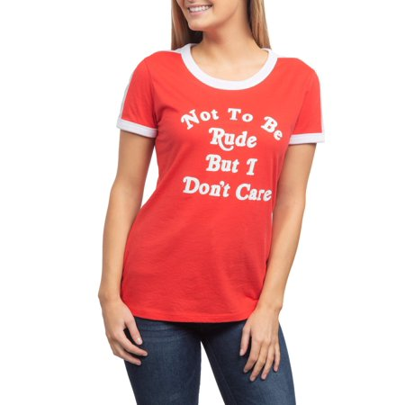 Juniors' Not To Be Rude But Generic Contrast Ringer Graphic Short Sleeve T-Shirt