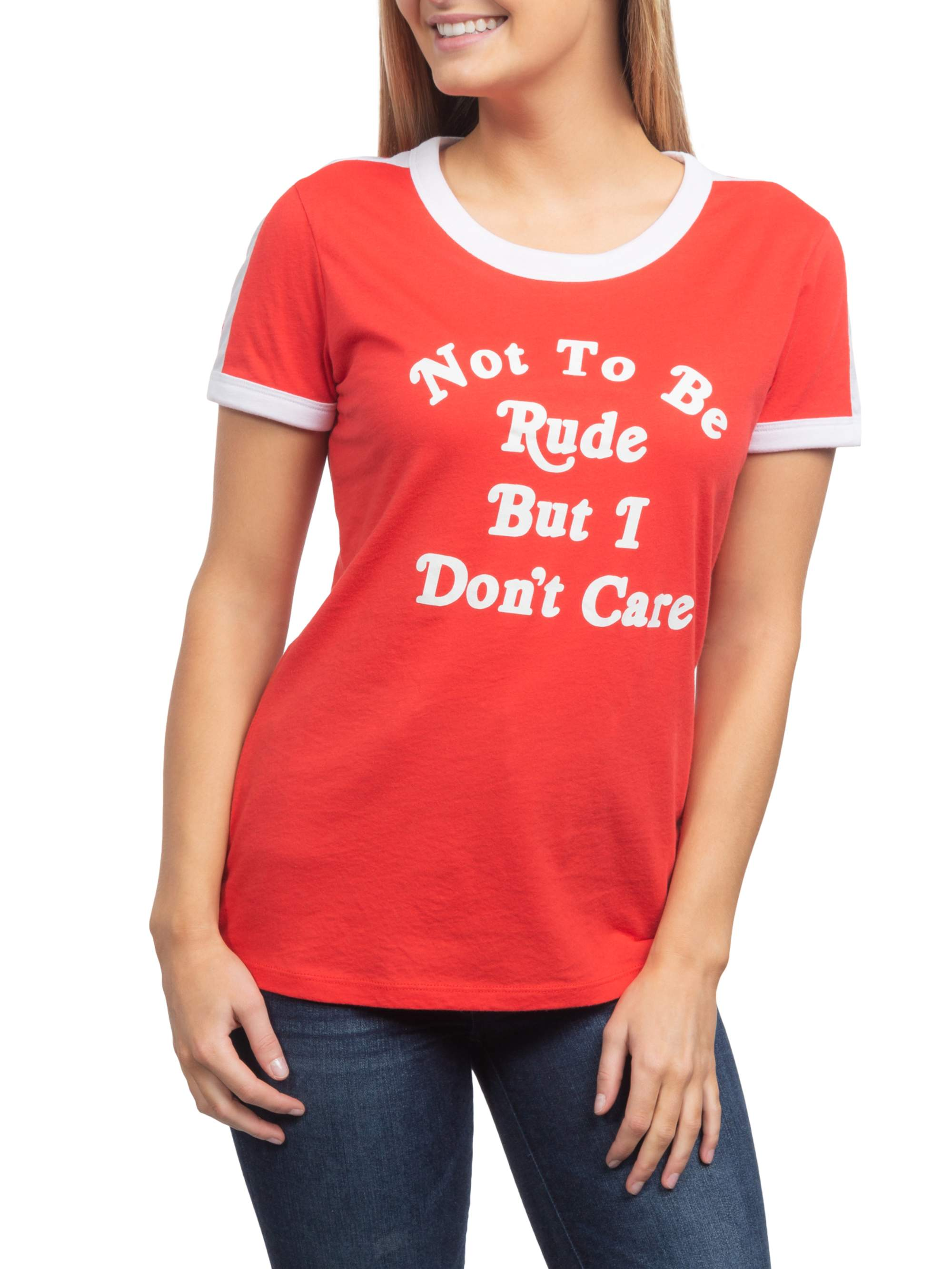 Not To Be Rude But Juniors' Generic Contrast Ringer Graphic Short Sleeve T-Shirt