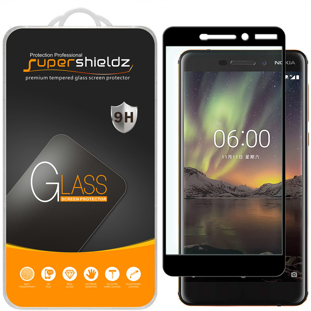 [2-Pack] Supershieldz for Nokia 6.1 (Nokia 6 2018) [Full Screen Coverage] Tempered Glass Screen Protector, Anti-Scratch, Anti-Fingerprint, Bubble Free (Black Frame)