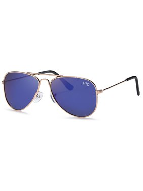 Hawaiian Island Creations Trendy Aviator Kids Polarized Polycarbonate Sunglasses - Gold Metal Frame / Blue Revo Lenses