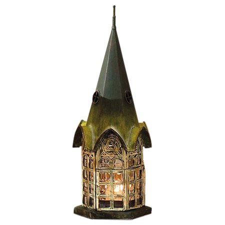Glass and Metal Architectural Candle Lantern - Green Patina Pickford House by Get one for anyone who appreciates candles or classic architecture By Echo Valley Echo 1 Metal