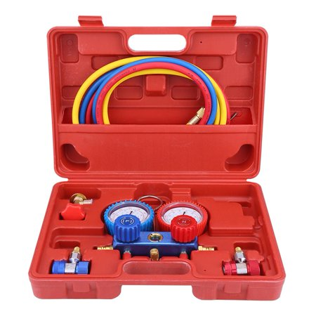 TOPINCN R134a Air Conditioner A/C Manifold Gauge Set with 5ft Charging Hose Tool, A/C Manifold Gauge, Manifold Gauge Set Hose Red Air Conditioning
