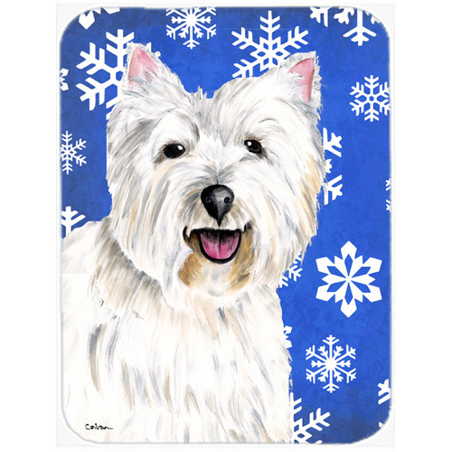 Caroline's Treasures Snowflakes Westie Glass Cutting Board