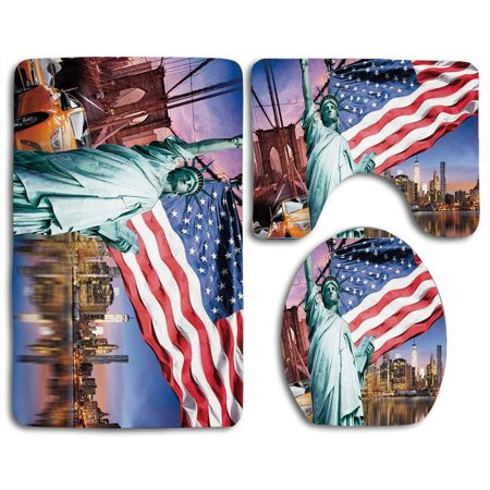 XDDJA United States USA Touristic Collection Statue Liberty NYC Cityscape Flag Cars 3 Piece Bathroom Rugs Set Bath Rug Contour Mat and Toilet Lid Cover - image 2 of 2