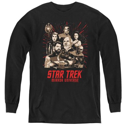 Trevco Sportswear CBS2228-YL-1 Star Trek & Poster-Youth Long Sleeve Tee, Black - Small