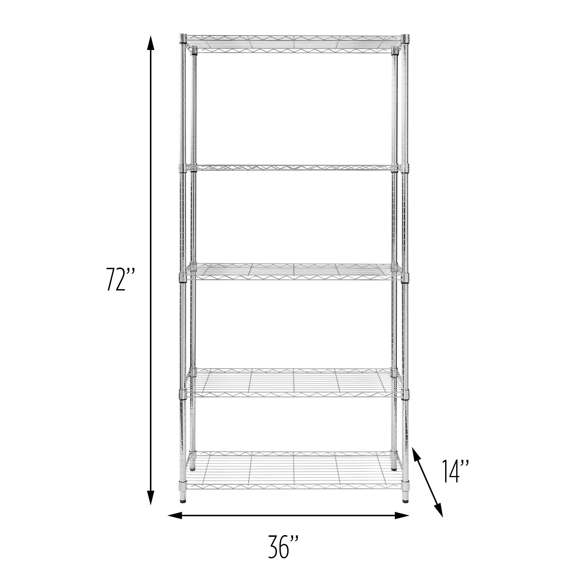 Honey Can Do 5-Tier Heavy-Duty Adjustable Shelving Unit, Chrome