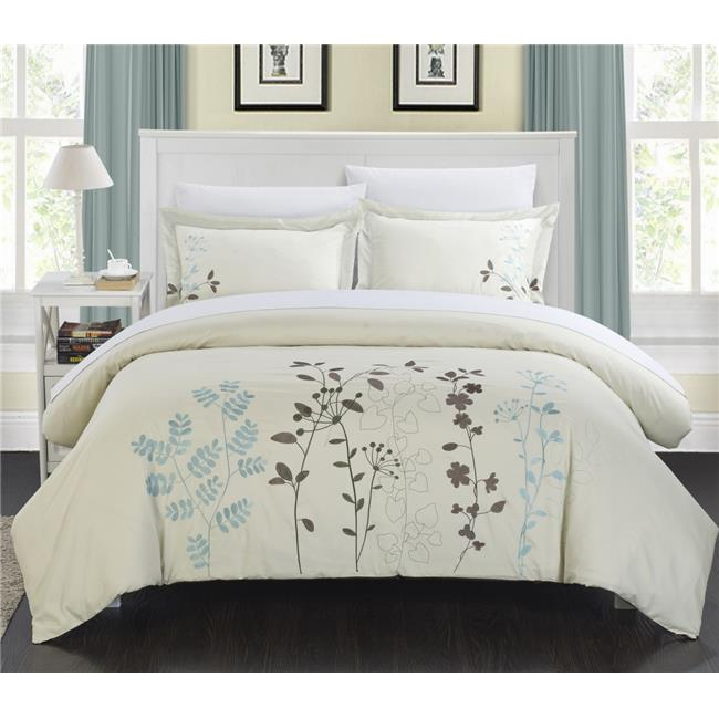 Chic Home DS2942-BIB-US Kylie Floral Embroidered Duvet Set with Sheets - Beige - Queen - 7 Piece