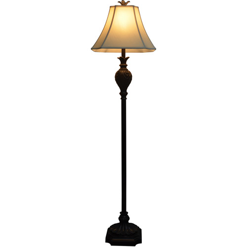 Carved Bronze Resin Floor Lamp with Taupe Silken Shade