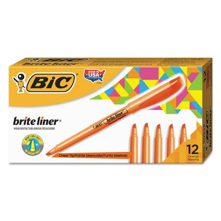 BIC Brite Liner Pocket Highlighter, Chisel Tip, Orange, 12-Count ()