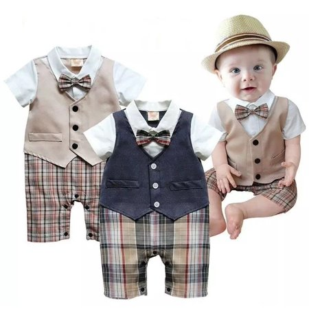 Boys Newborn Infant Baby Kids Romper Gentleman Bodysuit Outfit Clothing