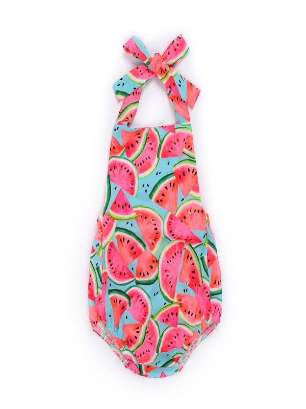 Outtop Toddler Newborn Baby Girls Watermelon Print Strap Rompers Jumpsuit Outfits