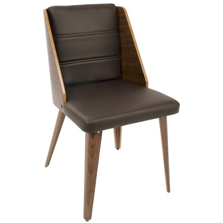 Galanti Mid-Century Modern Dining/Accent Chair in Walnut Wood and Brown Faux Leather by LumiSource - Set of 2