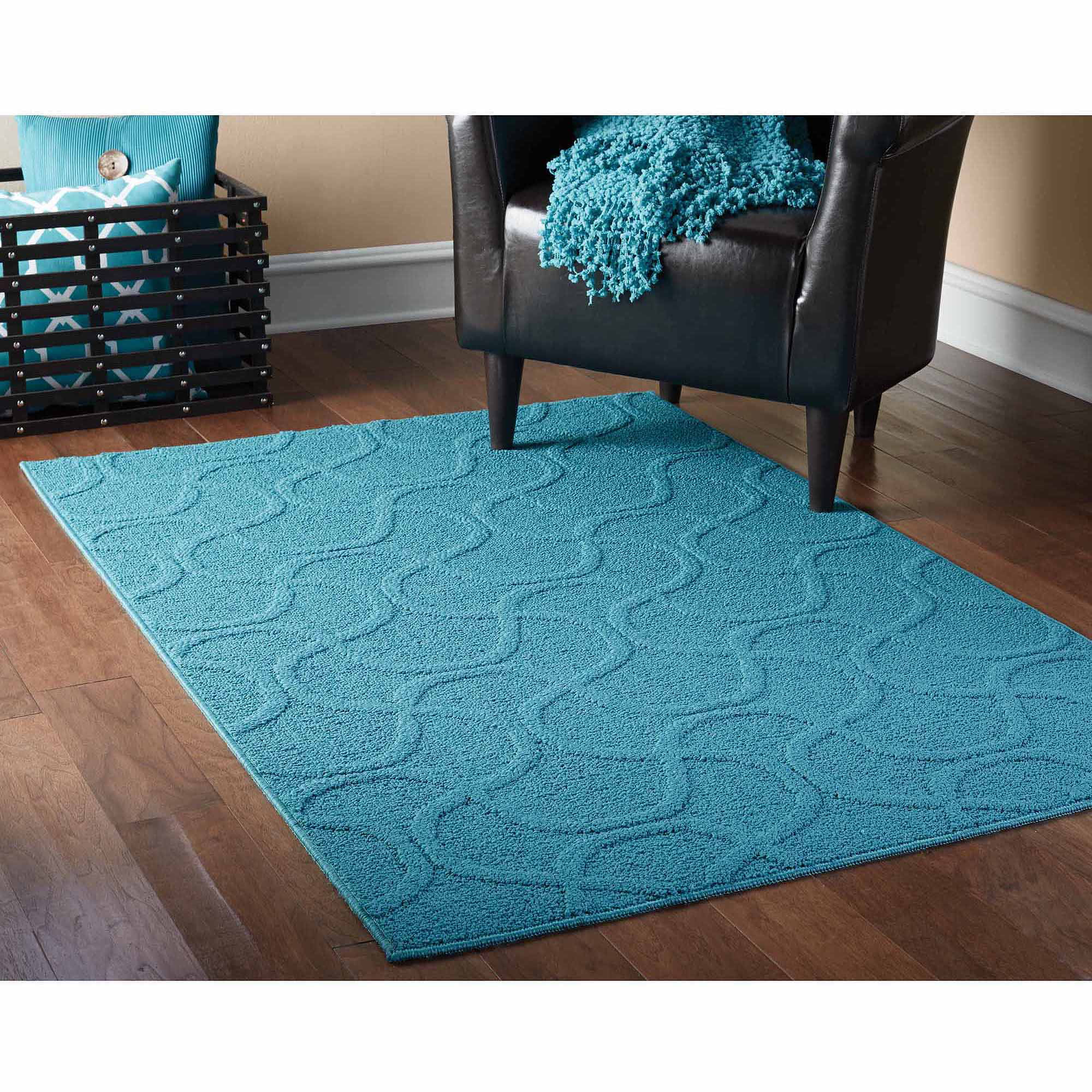 Mainstays Brentwood Collection Drizzle Style Area Rug Teal