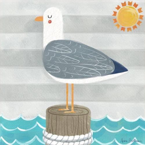 Oopsy Daisy - Let's Set Sail - Seagull Canvas Wall Art 14x14, Anne Bollman