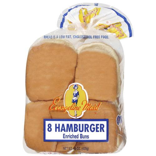 Evangeline Maid Enriched Hamburger Buns, 8ct