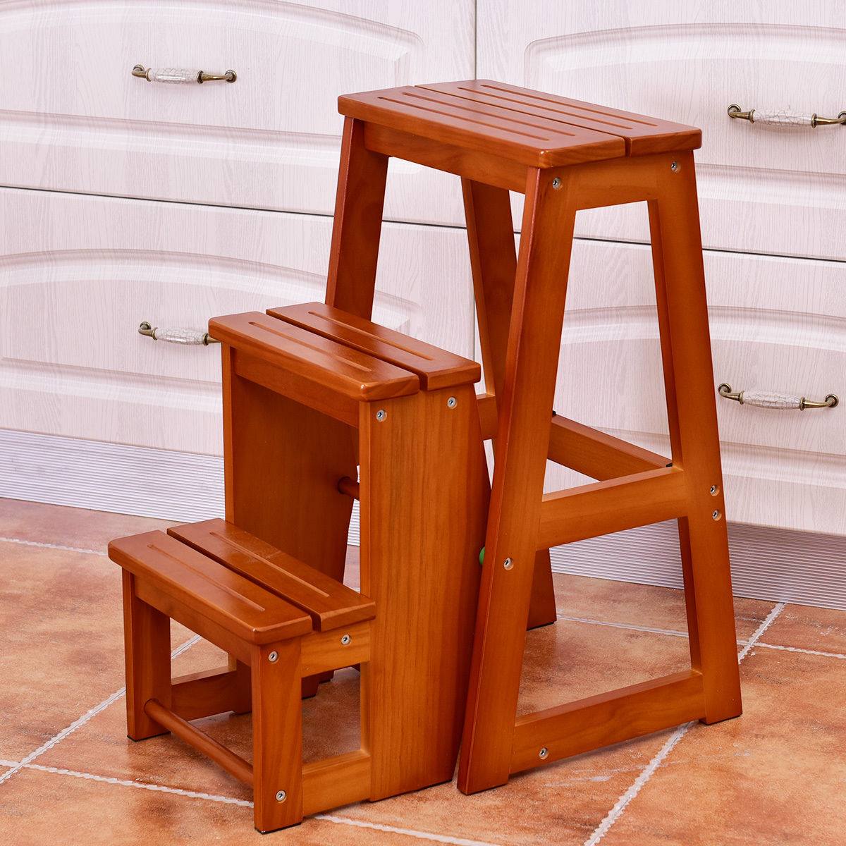 Costway Wood Step Stool Folding 3 Tier Ladder Chair Bench Seat Utility  Multi Functional