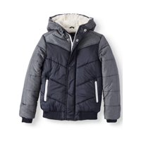 North Zone Retro Colorblock Puffer Jacket with Sherpa Lined Hood (Little Boys & Big Boys)