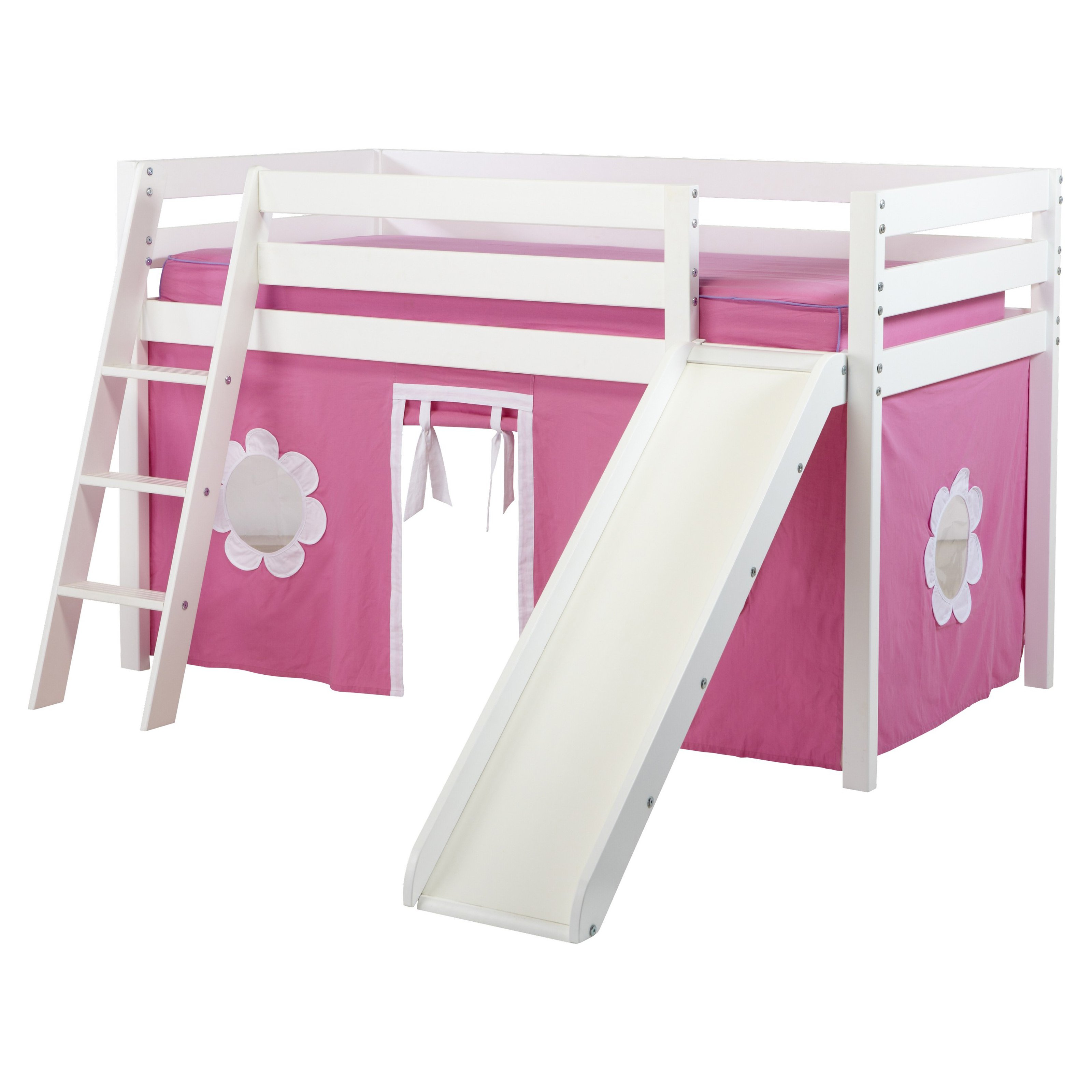 Twin Bed With Slide Part - 19: Maxwood Furniture Jackpot Twin Low Loft Bed With Angled Ladder / Slide /  Curtains - Walmart.com