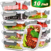 Wendana Meal Prep Containers, Bento Box Glass Food Storage Containers with lids,Glass Lunch Containers,Microwave, Oven, Freezer and Dishwasher Safe 10 Pack,22 Oz,Glass