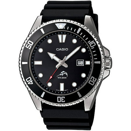 - Men's Stainless Steel Dive-Style Watch, Black Resin Strap