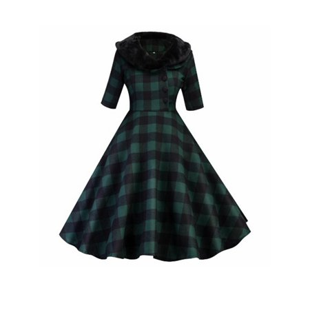 Women Vintage Autumn Winter 50 60s Plaid Rockabilly Cocktail Evening Party Pinup Housewife Party Swing Dress](Plaid Party Dresses)