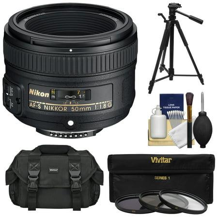 Nikon 50mm f/1.8 G AF-S Nikkor Lens with 3 UV/CPL/ND8 Filters + Case + Tripod + Kit for D3200, D3300, D5300, D5500, D7100, D7200, D750, D810