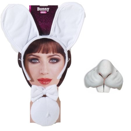 White Easter Bunny Rabbit Kit Animal Mini Nose Mask Ears Tail Bowtie Costume Set (Catwoman Mask And Ears Costume)