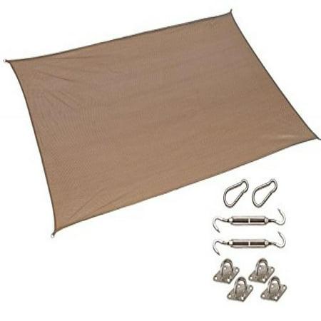 California Sun Shade Shade Sail Kit Rectangle 10ft X 8ft Walnut