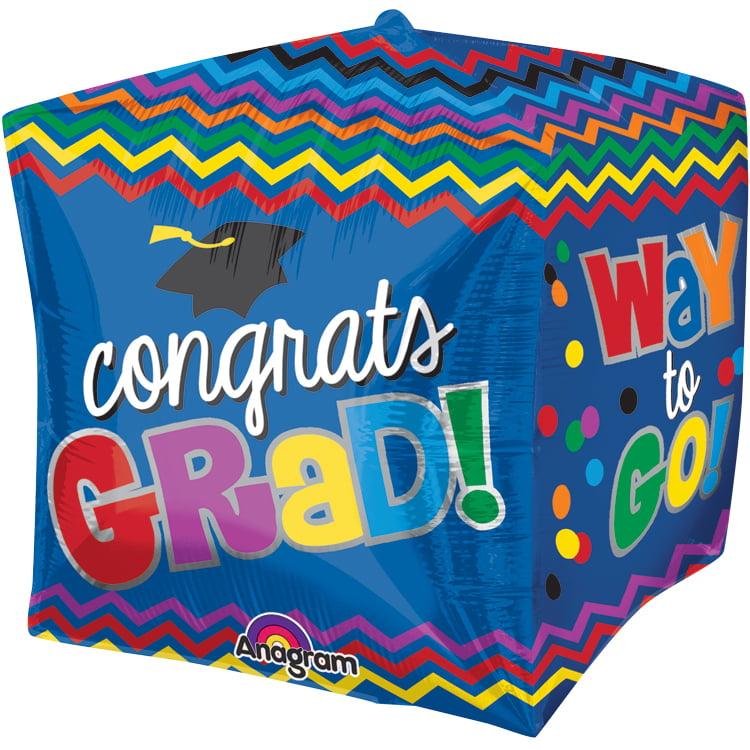 """Anagram Congrats Grad Graduation Cube Shape Cubez 15"""" Cubez Foil Balloon"""