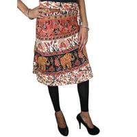 Mogul Women's Printed Knee Length Skirt Summer Fashion Wrap Around Skirts