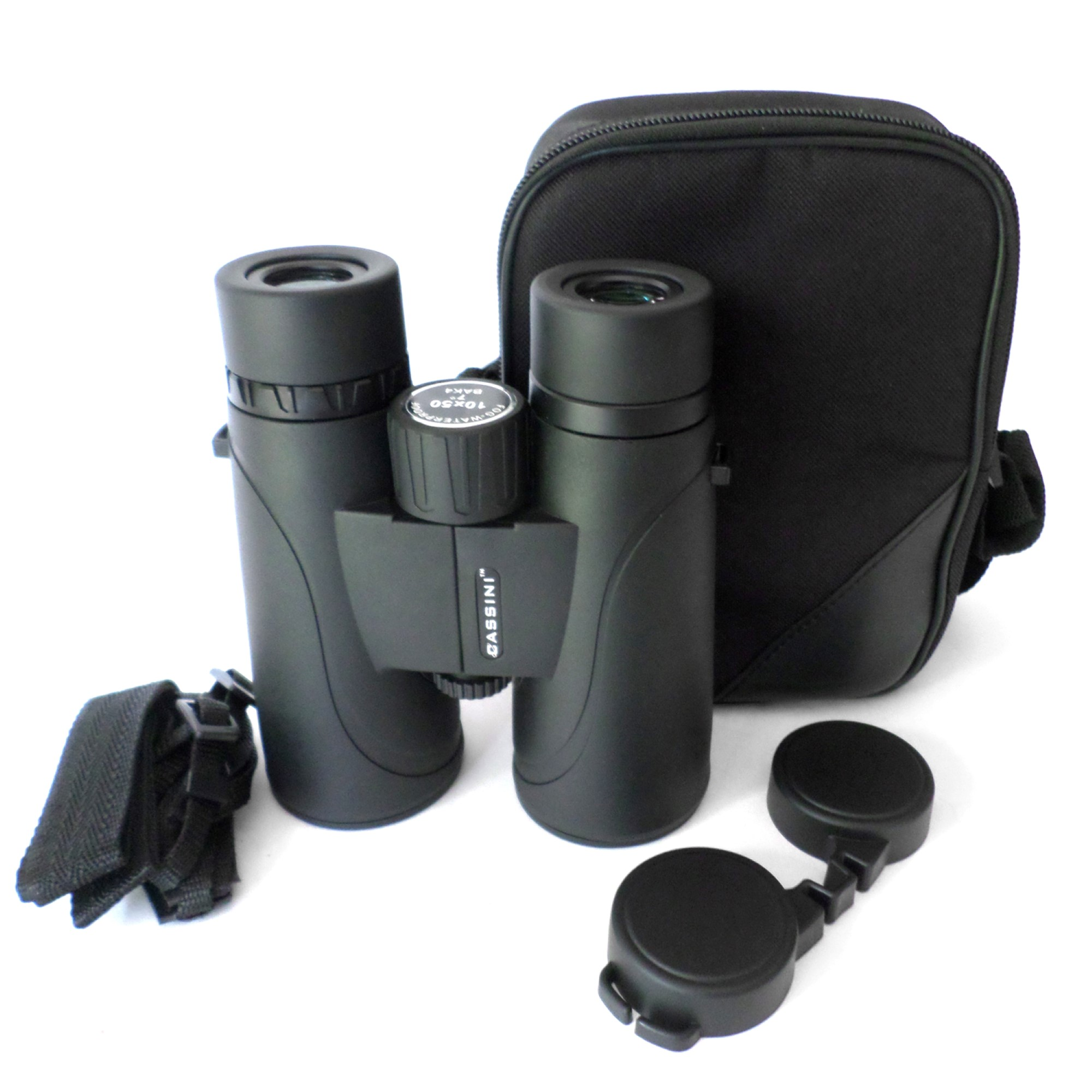Cassini 10 x 50mm Nitrogen Purged Waterproof & Fogproof Compact Binocular with BAK4 Prisms, Twist Up Eyecups , Shoulder Case and Tripod Port