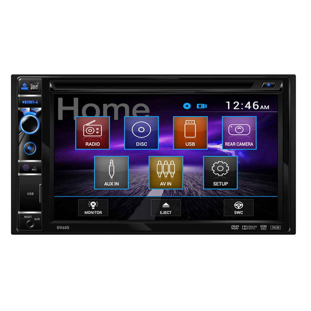 "Dual Electronics DV605 6.2"" Double-DIN In-Dash DVD Receiver with Touchscreen"