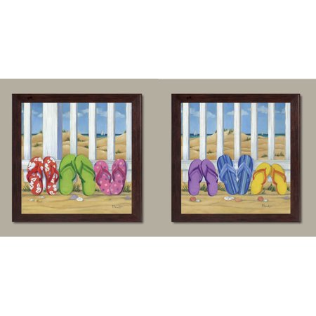- Cute, Colorful Flip Flops; Summer Day Beach Scene; Coastal Decor; Two 12x12in Brown Framed Prints; Ready to hang!