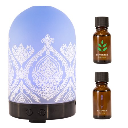Better Homes Gardens 3 Piece Ultrasonic Aroma Diffuser Oils Gift Set Frosted Damask