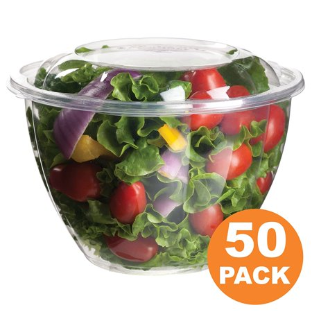 Extra Large Salad Bowl - Clear Plastic Bowl With Dome Lids for Salads Fruits Parfaits, 48oz, Disposable, Large Size [50 Pack]