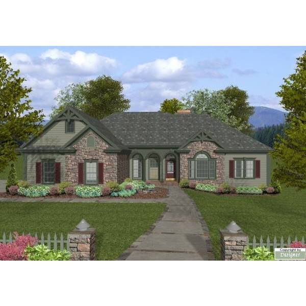 TheHouseDesigners-8461 Southern House Plan with Basement Foundation (5 Printed Sets)