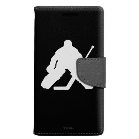 Lg X Power Wallet Case Silhouette Ice Hockey Goalie On Black Case