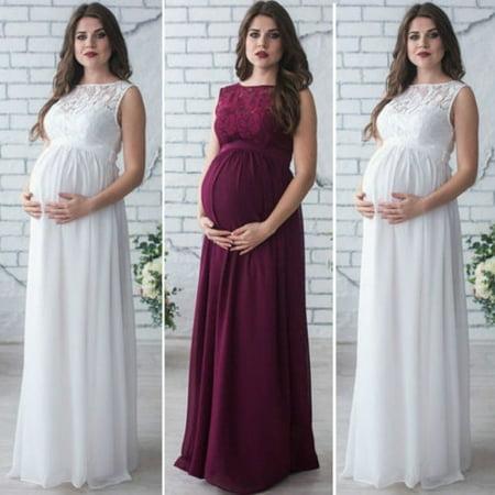 1d9fdd0728769 Honganda - Maternity Women Evening Dress Pleated Maxi Pregnancy Baby Shower  Wedding Gown - Walmart.com
