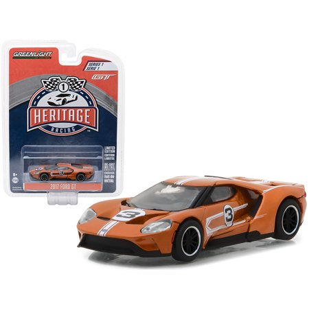 2017 Ford GT Brown #3 - Tribute to 1967 Ford GT40 MK IV #3 Racing Heritage Series 1 1/64 Diecast Model Car by Greenlight