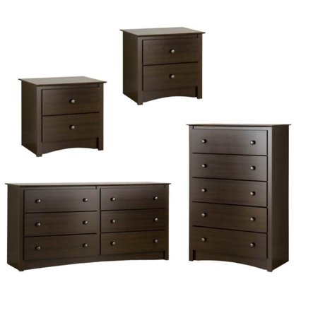 4 Piece Furniture Set with 2 Nightstands Dresser and Chest in Espresso Finish 3 Piece Bedroom Package